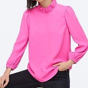 J. Crew Neon Berry Pink Ruffle Neck Top M NWT